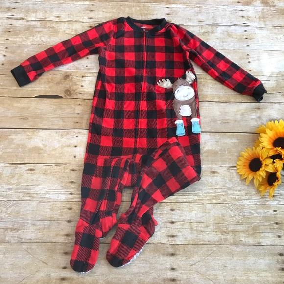 552c00082 Carter's Pajamas   Carters Checkered Moose Fleece Pajama Size 4 ...